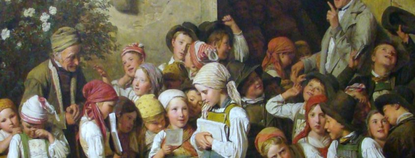 Картина После школы художника Фердинанда Вальдмюллера