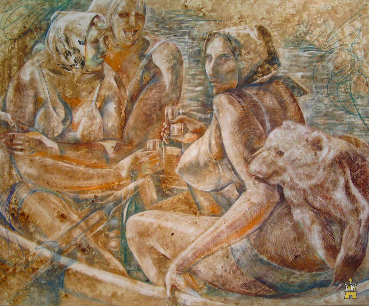 Три женщины в лодке с медвежатами - из серии Люди в лодках