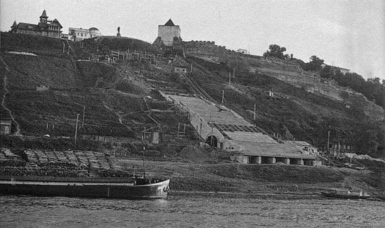 Н.М. Капелюш. Строительство Чкаловской лестницы, 1947 год