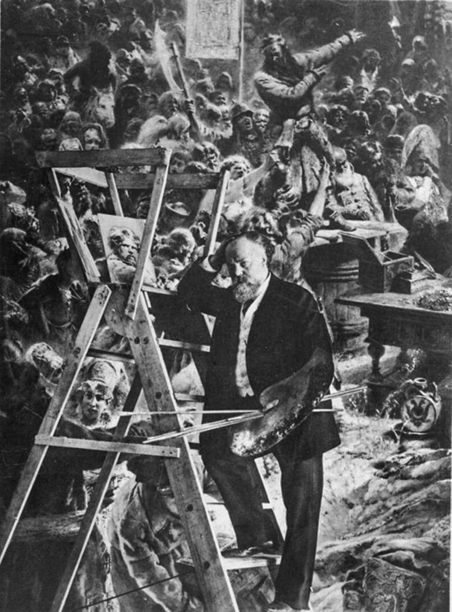 К. Е. Маковский у картины «Воззвание Минина к нижегородцам»