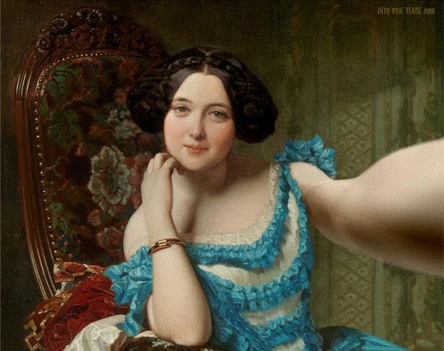 Серия портретов «Classicool», на которых холсты известных портретов превращаются в селфи MuseumSelfie