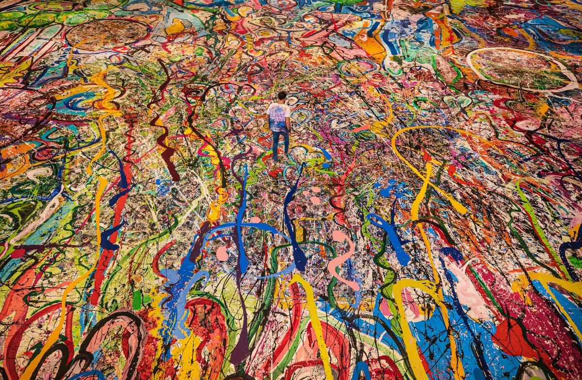 Абстрактная картина «Путешествие человечности» (The Journey of Humanity, 2020) художника Саши Джафри